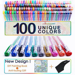 Gel Pens 100 Colours Art Craft Classic Neon Glitter Metallic Swirl Gel Ink Pen T