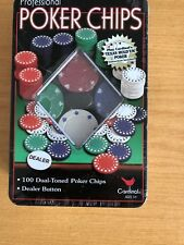 PROFESSIONAL 100 PIECE TEXAS HOLD'EM POKER CASINO GAME CHIPS SET IN CASE