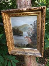 Antique Landscape-Boat OIL PAINTING On Board Framed TLC Deep Lemon Gilt Frame!