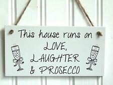 Handmade Wooden Love Laughter Prosecco Plaque - Funny Joke Novelty Gift Sign