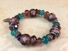 Beautiful Pink and Turquoise Charm Bracelet with Rose Beads