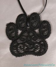 "Embroidered Black Lace Swirl Cat or Dog Lover Paw Print 2.75"" Pendant Necklace"