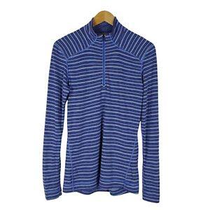 Smartwool Womens XL Merino 250 Base Layer Pattern 1/4 Zip Pullover Blue Slim Fit