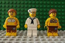 3 Brand New Lego Mini Figures Sailor & Hula Girl Twin Sister /Lady In Every Port