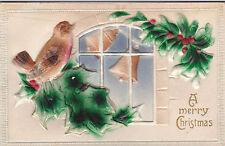 Vintage Postcard MERRY CHRISTMAS embossed flocked BIRD Robin Holly Windows