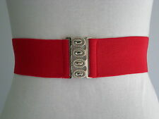 50s Style ROCK n ROLL SKIRT ELASTIC CINCH BELT. Red. Small.