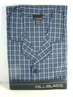 BILL BLASS Blue PLAID Cotton Summer PJs PAJAMAS Set Mens size XL NWT NEW