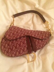 Christian dior vintage saddle bag red monogram gold hardware large model genuine
