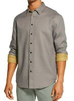 DKNY Mens Shirt Yellow Gray Size Small S Button Down Reversible Plaid $89 #142