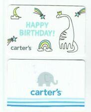 Carters & Oshkosh Gift Card - LOT of 2 - Elephant, Dinosaur, Rainbow - No Value