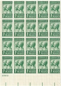 DOCTORS MAYO Sheet of 20 - 5 cent STAMPS LOT NICE