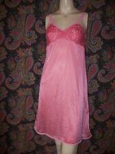Vintage Gragero Pink Lacy Silky Nylon Slip Nighty Lingerie M (32-34)