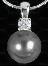 925 Silber * Anhänger Zirkonia & Perle grau *ohne Kette PERLENANHÄNGER SCHMUCK