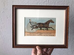 Antique  Vacuum Oil Advertising Trade CardHorse Harness Racing Color Framed
