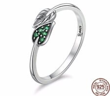 Green Emerald Double Leaf Ring 925 Sterling Silver Branch Leaves Wrap Size 7/N
