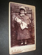 Cdv old photograph girl with doll by Boak c1890s
