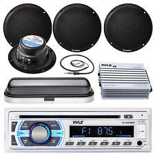 "Black Marine 400W 6.5"" Speakers, 400W Amp, Cover, Antenna, Bluetooth USB Radio"