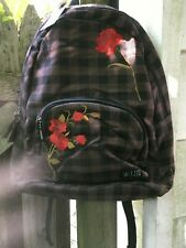Volcom Schoolyard Backpack Women's Black/Brown Check with Floral Details NWT
