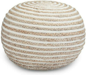 SHAPJW  Round Pouf, Footstool, Upholstered in Natural Hand Braided Jute and Cott