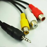 new 20cm Black DC 3.5mm Plug Male to 3 RCA Female Adaptor Audio Video Cable