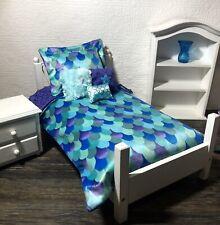 "Mermaid Girl Doll Bedding Set For 18"" Doll Comforter/Pillow Purple Blue Inch"