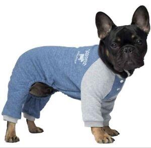 """Canada Pooch Frosty Fleece Sweatsuit pjs Blue Size 10"""" Chihuahua Yorkie new"""