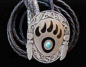 BEAR PAW BOLO TIE FINE PEWTER NICE COLORS!