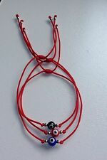 Evil Eye 3 Red String Kabbalah Bracelet Silver Bead Good Luck Charm Protection
