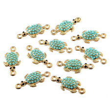 10pcs Turtles Inlaid Beads Connector Alloy Charms DIY Bracelet Making 26*12mm