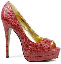 Red High Stiletto Heel Peep Toe Platform Pump 10 us Miss Me Jocelyn-19
