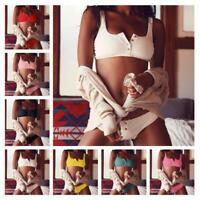 Women Two Piece Bikini Set Swimsuit Push Up Bandage Button Swimwear Bathing Suit