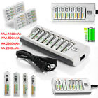 EBL AAA AA Ni-MH Rechargeable Batteries + 8-Slots Charger For NIMH NICD LOT