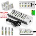 EBL AAA AA NIMH 1100mah 2800mah Rechargeable Batteries +Box / 8Slots Charger Lot