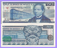 Mexico P65a, 50 Pesos, Juarez / Zapoteca Indian Wind goddess, 1973  UNC