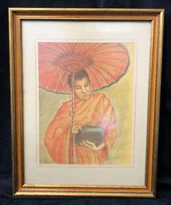 Vintage Original SIGNED Pat Deamon Pastel Artwork Framed Asian Buddhist Monk