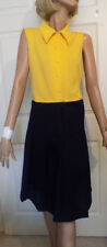 Vintage Navy Blue & Yellow Polyester Knit Dress Pleated Skirt B36