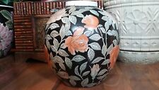 ANTIQUE Chinese FAMILLE NOIRE Porcelain Planter VASE - Brush Pot URN Caddie JAR