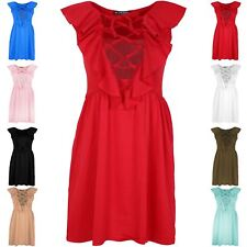 Women Ladies 70'S Lace Eyelet Detail Front Tie Lace Up Frill Flared Skater Dress