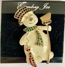 Eisenberg ice Enamel & Rhinestones Snowman Brooch Pin Christmas Tree Orig Card
