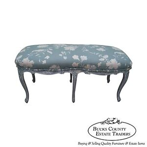 Vintage French Louis XV Style Painted 6 Legged Window Bench
