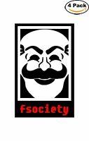 Mr Robot Fsociety Mask Logo Red Decal Vinyl Sticker 4 Stickers