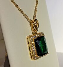 PE Gold 45cm Chain Necklace 33x18mm Pendant Green Emerald Sim Diamonds Plum BOXD