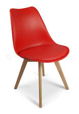 2 X Red Toulouse Superior Quality Tulip Eiffel Style Dining Chairs Padded Seat