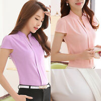 Korean Elegant Women Lady Short Sleeve Chiffon OL Career Slim Shirt Blouse Tops