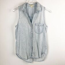 Cloth & Stone Womens Top Size S Smal Shirt Button-Up Shirt Sleeveless Distressed