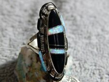 Navajo Steve Francisco Size 7 1/4 Ladies Sterling Jet Created Opal Inlay Ring