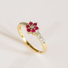 RUBY RING NATURAL RUBIES DIAMONDS GENUINE 9K GOLD RING FLOWER PATTERN SIZE P NEW