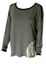 Michael Kors Logo Women's Top Derby Sweatshirt Med Charcoal Gray NWT $69