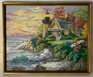 Paint By Number LightHouse Landscape Guardian of the Sea Botanic Ocean Framed