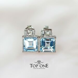 Genuine  Blue Topaz Green Amethyst 925 Sterling Silver Earring